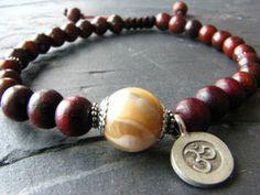 Rosewood Bracelet Mala Prayer Beads with Om Charm