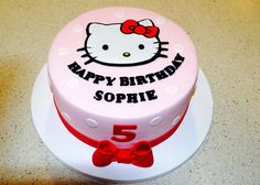 Fun cake at a Hello Kitty birthday party! See more party ideas at CatchMyParty.com!