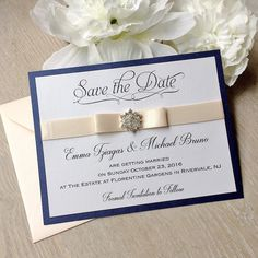 Navy and Blush Save the Date Card - Blush Pink Ribbon and Snowflake Crystal Button - Custom colors available