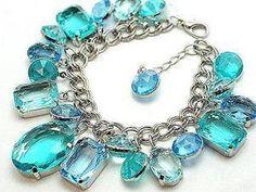 aqua blue caribbean chunky lucite bracelet