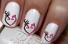 50 pc Pink Fire DBL Deer Heart Deer Buck And Doe Nail Decals Nail Art Nail Stickers Best Price NC790