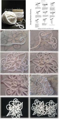 As make-Wall Drawings with Cordoncillo Crochet <sub> Romanian Lace </ sub> - enrHedando Crochet Cord, Freeform Crochet, Irish Crochet, Crochet Motif, Crochet Designs, Crochet Flowers, Crochet Lace, Crochet Coaster Pattern, Knitting Designs