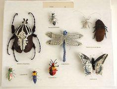 Insects made from recycled materials by artist Kate Kato - aka Kasasagi. ( www.kasasagidesign.com )