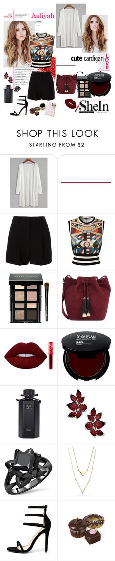 """Cute Cardi"" by tainted-scars ❤ liked on Polyvore featuring DKNY, Givenchy, Bobbi Brown Cosmetics, Loeffler Randall, Lime Crime, Gucci and Liliana"