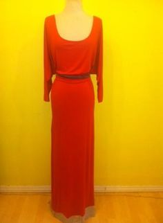 $61 RED Berry Long Slouchy OFF shoulder Color block trim jersey,  Dress, color block off shoulder maxi jersey, Casual