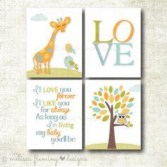 Set of four baby boy art prints, nursery decor, I'll love you forever, I'll like you for always (BOY51)