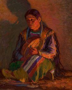 JOSEPH HENRY SHARP (American, 1859-1953)  Bawling Deer by Firelight