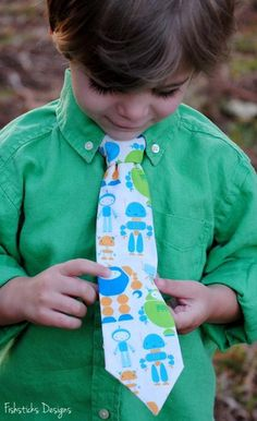 Little Boy Wearing Monster Tie - Craftsy.com----Tie Patterns from CRAFTSY!!!,,,,