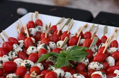 Caprese on Skewers I Puff 'n Stuff Catering I #weddingfood #horsdoeuvres