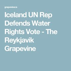 Iceland UN Rep Defends Water Rights Vote - The Reykjavik Grapevine