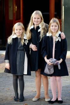 (L-R) Dutch Princess Ariane, Princess Amalia and Princess Alexia attend the christening of Prince Floris' son at Palace het Loo in Apeldoorn, The Netherlands, 09.11.2014.