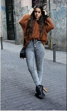 what to wear with black acid wash skinny jeans - Google Search