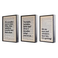 Alice in Wonderland Quotes Altered Book Art Typographic print on vintage book page gift set