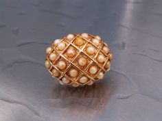 Vintage Cocktail Ring Pearls Goldtone 1960s by TheJewelryChain, $16.00