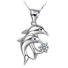 """925 argent sterling Cristal de l'Autriche diamants bijoux collier pendentif deux dauphins avec 18"""" chaîne bijoux"""