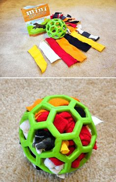For a dog who loves to tear apart stuffed animals, make a durable activity ball with a Hol-ee rubber ball, scraps of fabric, and treats. When they pull all the fabric out, stuff it back in and start over