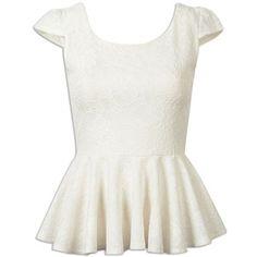 Choies White Ruffle Hem Cap Sleeve Lace Top