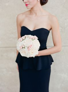 Black Peplum-Top Badgley Mishka Bridesmaid Dresses with White and Blush Round Bridesmaid Wedding Bouquets | Mint Museum Uptown – Charlotte, North Carolina | Best Day Ever Studios https://www.theknot.com/marketplace/best-day-ever-studios-charlotte-nc-610378 | Corbin Gurkin Photography https://www.theknot.com/marketplace/corbin-gurkin-photography-charleston-sc-767241