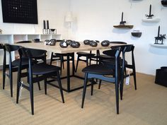dk3 Jewel Table accompanied by Wegners CH33 chair. Seen in Denmark at Design Center Roskilde. www.dk3.dk