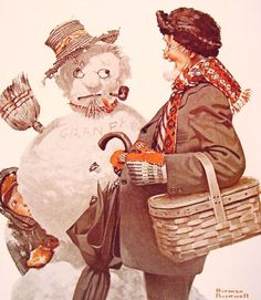 Grandfather and Snowman by Norman Rockwell (1919)