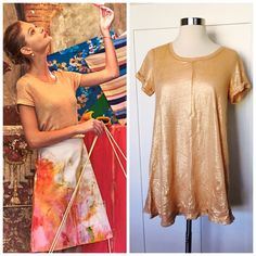 NWOT Anthropologie Glimmer Gold Top Gorgeous NWOT Gold Glimmer Tee from Anthropologie.  Add a touch of fancy to your holiday/winter wardrobe!  This top's sheen is beautiful!  Size Small. Anthropologie Tops Tees - Short Sleeve