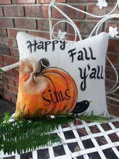New Fall Y'all Personalized Accent Pillows Throw by SippingIcedTea Pumpkin Pillows, Fall Pillows, Throw Pillows, Burlap Pillows, Indoor Outdoor, Autumn Crafts, Harvest Crafts, Fall Projects, Happy Fall Y'all