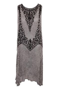 1920s Black and Silver Beaded Dress