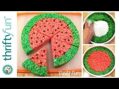 This is a guide about Rice Krispy treat watermelon slices. Give the ever popular rice cereal treats a summertime look. Rice Crispy Cake, Rice Crispy Treats, Krispie Treats, Cereal Treats, Rice Cereal, Summer Snacks, Summer Desserts, Easy Desserts, Summer Fun