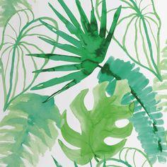 Papel pintado con diseño estampado de color verde fabricado en tejido no tejido. Elle Decor, Motif Jungle, Jungle Theme Nursery, Jungle Flowers, Motif Tropical, Wallpaper Roll, Vinyl Wallpaper, Plant Leaves, Wall Art