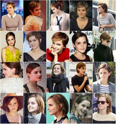Emma Watson thru the awkward stages of growing out her Pixie. Since she started growing it out in January 2011 till she got it into a bob in August 2012.