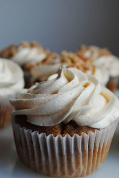 Spiced Caramel Apple Cupcakes :) I made these this past weekend and they were a huge hit <3