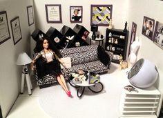Barbie Diorama OOAK 1 6 Scale Black N White Decor Living RM Barbie Furniture   eBay
