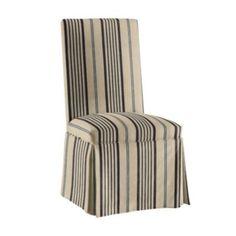 Ballard Designs Parsons Chair Slipcover In Black Linen Stripe