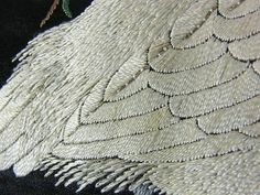 Late 19th c. Japanese black silk fukusa, egret under willow embroidery 2