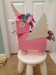Unicorn Valentine Box convert to a pinata Valentine Day Boxes, Valentines For Kids, Valentine Day Crafts, Valentine Box Unicorn, Unicorn Gifts, Unicorn Party, Unicorn Surprise, Unicorn Presents, Diy Valentine's Box