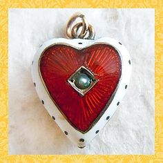Victorian 9k Gold Guilloche Puffy Heart with Pearl Charm Pendant