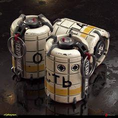 ArtStation - Grenades Original Concepts - Cyberpunk 2077, Filippo Ubertino Sci Fi Weapons, Weapon Concept Art, Airsoft, Homemade Fireworks, Rpg Cyberpunk, Ww2 Propaganda, Future Weapons, Fantasy Sword, Star Wars Rpg