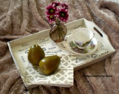 Taking a cheap wood tray from bare basic to delightfully chic!  DesignDreams by Anne: Tray Makeover à la Parisienne