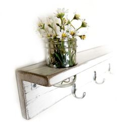 shabby chic - love this distressed shelf wih jar of flowers