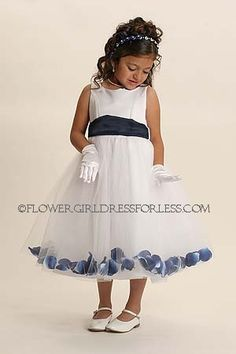 Flower Girl Petal Dress Style 152- BUILD YOUR OWN! 22 Petal Color Options  The ultimate in flower girl dresses!  Sleeveless princess style satin bodice with double layered full tulle skirt.  Matching tulle waist sash that ties in back (side ribbon stays for keeping it in place).  Skirt has 'loose' flower petals all around with choice of sash color.  http://www.flowergirldressforless.com/mm5/merchant.mvc?Screen=PROD&Product_Code=152W&Store_Code=Flower-Girl&Category_Code=Yellow