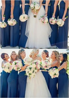 Stunning blue bridesmaid dresses idea; photo: Eliza J. Photography