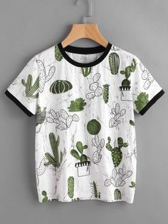 Women Tops Summer Casual Woman T shirt Top Crew Neck Short Sleeve Cactus and Marble Print Ringer Tee Fashion Mode, Fashion Outfits, Fashion Art, Ladies Fashion, Street Fashion, Korean Fashion, Fashion Online, Fashion Design, Top Mode