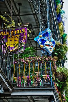 The French Quarter decorated for Mardi Gras