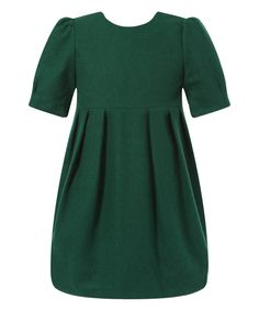 Richie House Green Elegant Wool-Blend Dress - Infant, Toddler & Girls | zulily