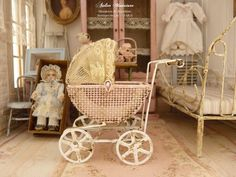 Miniature old fashion aged pink pram, French romantic antique lace, Accessory for a Shabby Victorian dollhouse in 1:12th scale by AtelierMiniature on Etsy https://www.etsy.com/listing/466138137/miniature-old-fashion-aged-pink-pram
