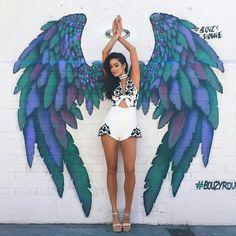 Fashion Embroidered V-Neck Jumpsuits – Graffiti World Angel Wings Art, Graffiti Drawing, Street Art Graffiti, Graffiti Murals, Mural Painting, Mural Art, Paintings, Designer Jumpsuits, Amazing Street Art