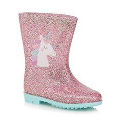 Amazing unicorn wellies wellington boots glitter pink lights sparkly pastel theme