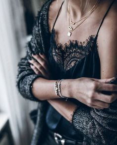 Lace, gold layers, sweater....