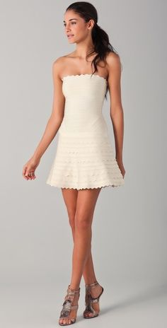hello herve leger little white scalloped A line dress!!  you are #swoonworthy