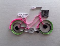 Quilled Paper Bicycle for Home Decor  Pink por ThePaperyCraftery
